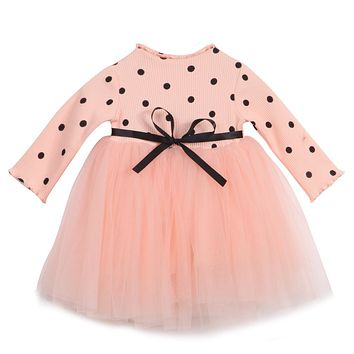 Cute Newborn Kids Baby Girl Clothing Dresses Tutu Cute Ball Summer Polka Dot Lace Tutu Dress Girls Clothes