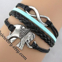 Lucky bracelet, leather bracelet,elephant bracelet, leather bracelet, charm bracelet,Jewelry Bijoux,Friendship gift,Personalized