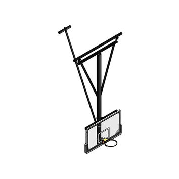 Gared Sports Single Post Ceiling Hung Basketball Backstop, Stationary/Ceiling Braced