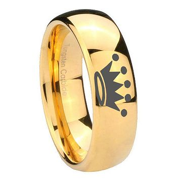 8MM Mirror Dome Crown 14K Gold IP Tungsten Carbide Laser Engraved Ring