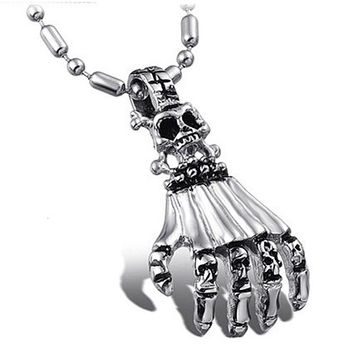Skeleton Hand 316L Stainless Steel Necklace