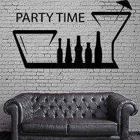 Party Time Bar Kitchen Decor Alcohol Drink Wall Sticker Vinyl Decal Unique Gift (ig2090)