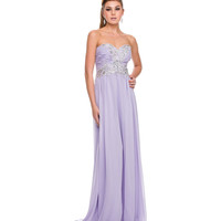 Lilac Chiffon & Beaded Strapless Corset Gown 2015 Prom Dresses