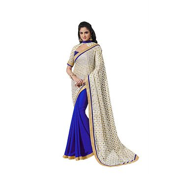 Elegant Hand Painted Royal Blue and Gold Exclusive Saree D-118