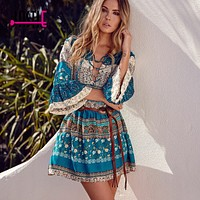 Jastie Floral Print Bohemian Dress V-Neck Sexy MIni