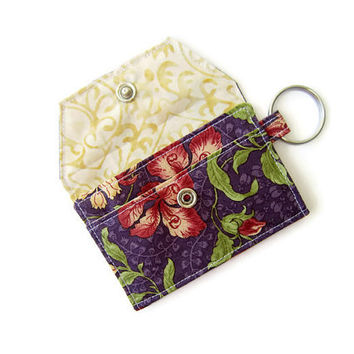 Mini key chain wallet/ simple ID Key chain pouch / Business card holder/ keychain coin purse / Purple flowers pattern