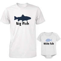 Big Fish and Little Fish Dad and Baby Matching Top Set Parent Shirts Infant Onesuits