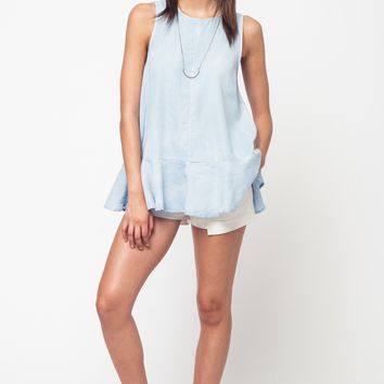 Light Chambray Ruffle Bottom Tank