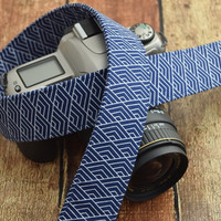 dSLR Camera Strap - Navy Blue Geometric