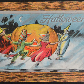 Halloween Postcard, Antique Postcard, Rose Publishing, Dancing Halloween, Halloween Ephemera