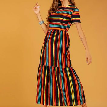 Rainbow Stripe Spliced Maxi Dress