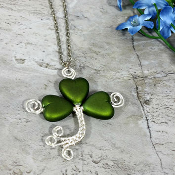 Wire Wrapped Shamrock Necklace, Good Luck Jewelry, Shamrock Gift Idea