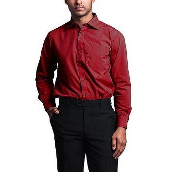 Regular Fit Long Sleeve Dress Shirt - Red