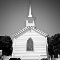 Taylorville Church #1, Berlin, Black and White Religious Photo, Steeple, Country, Religious ArtRural Eastern Shore Maryland Home Decor