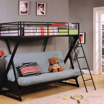 "Acme 37134 Zazie iii collection twin over full fold down futon sandy black finish metal ""x"" shaped frame design bunk bed"