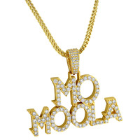 Custom Men's Mo Moola Fully Iced out 14k Yellow Gold Finish Hip Hop Designer Pendant Chain