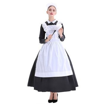 Adult Women Halloween French Maid Costume Black White Long Gown Arpon Dress Female Victorian Housekeeper Cosplay Outfit
