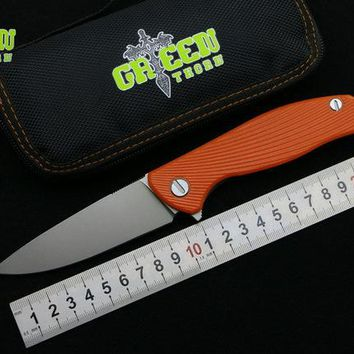 Green thorn hati 95 Flipper folding knife bearing D2 blade G10 Steel handle outdoor camping hunting pocket fruit knife EDC tools