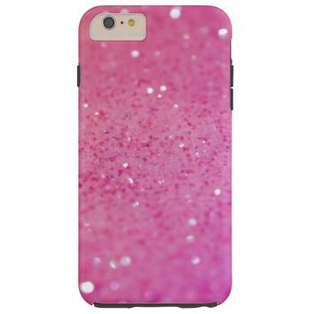 Pretty Girly pink purple glitter pattern texture Tough iPhone 6 Plus Case
