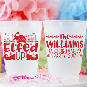 Let's Get Elfed Up Christmas Party Cups, Christmas Cups, Elfed Up Party, Christmas Party Favors, Holiday Party Cup, Frost Flex Plastic Cup