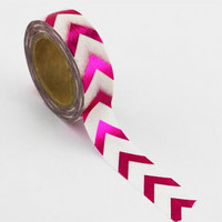 Hot Pink Fuchsia Pink Foil Bold Chevron on White Paper Washi Tape, 15mm x 10m, by Love My Tapes
