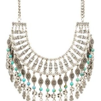 Silver Dangling Turquoise Statement Necklace by Charlotte Russe