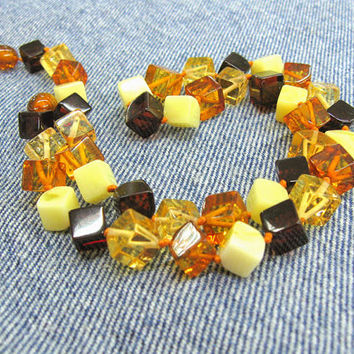 "Natural Baltic Amber Multicolor Cube necklace 18.5"" genuine polished amber dark brown honey cognac butterscotch yellow cubes modern trending"