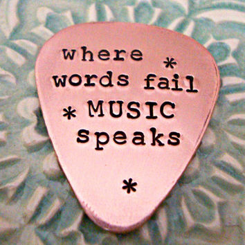 Personalized Guitar Pick- Copper Guitar Pick - Hand Stamped Plectrum - Music Lovers - Gift for Him