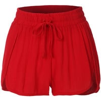 LE3NO Womens Elastic Waist Summer Beach Shorts