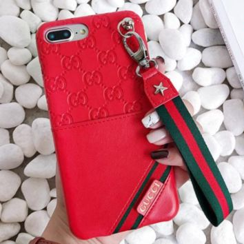 GUCCI Fashion new more letter Leather lanyard stripe couple mobile phone case soft shell Red