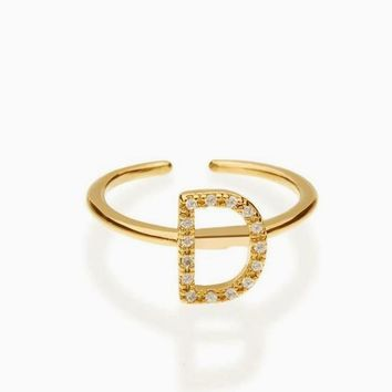 """Dazzling """"D"""" Initial Open Ring"""