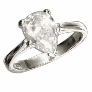 Sterling Silver Solitaire 2 Carat Pear Cut Cubic Zirconia Engagement Ring d1f29b1d8