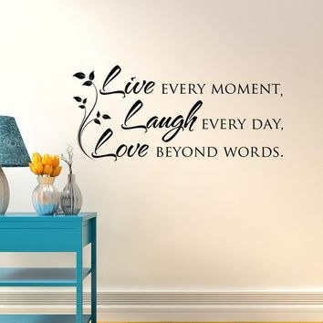 Live Laugh Love Wall Decal Quote- Inspirational Vinyl Wall Decal Quote- Bedroom Wall Decal- Family Vinyl Wall Quotes Bedroom Home Decor 069