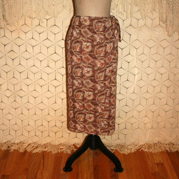 Silk Wrap Skirt Brown Print Chiffon Silk Skirt Small Womens Midi Skirt Women Skirts Banana Republic 80s 90s Vintage Clothing Womens Clothing