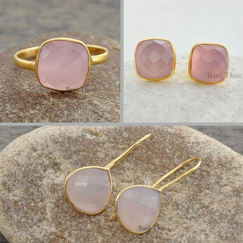 Jewelry Set-Ring+Studs+Earrings-Pink Chalcedony Jewelry Set-Combo Offer-Sterling Silver Jewelry Set-Gemstone Jewelry Set-Jewelry for Gift