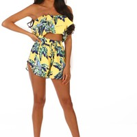 Sunkissed Bae Yellow Tropical Print High Waisted Shorts