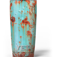 Teal Painted Rustic Metal Yeti Rambler Skin Kit