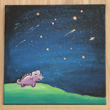 "Original Dinosaur Painting on 12"" x 12"" Canvas / Acrylic Painting for Kid's Room or Nursery / ""The Little Astronomer"""