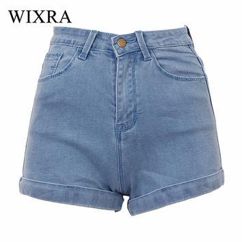 Wixra Basic Shorts 2017 Women's High Stretched Denim Shorts Ladies High Waist Jeans Shorts Plus Size Shorts For Women