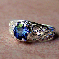 Lab Created Blue Sapphire Sterling Silver Filigree Ring, Cavalier Creations