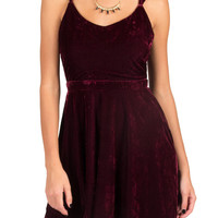 Strappy Velvet Dress - Wine - Large