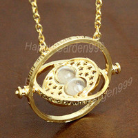 jewelry popular necklace vintage style the Harry Potter time turner necklace the Golden Snitch cute personalized gfit-Q622