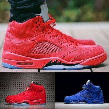 Air Jordan Retro 5 V Raging Bull Red Suede Blue Reflective Men Basketball Shoes Sports