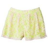 Xhilaration® Juniors Lace Shorts - Beige/Yellow