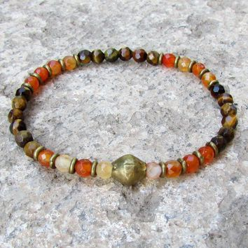 Prosperity and Stability, Genuine Fine Faceted Tiger's Eye and Carnelian Bracelet