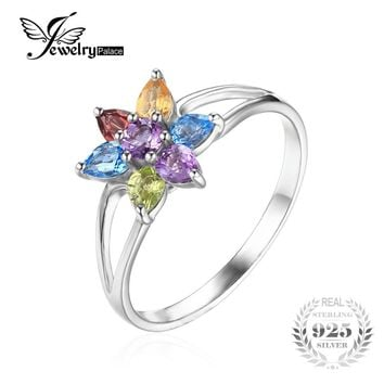JewelryPalace Flower 1.1ct  Natural Amethyst Citrine Garnet Peridot Swiss Blue Topaz Ring 925 Sterling Silver Jewelry for Women