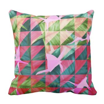 Abstract Hot Pink Banana Leaves Design Throw Pillow