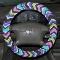 Orchid Chevron Steering Wheel Cover, Cute Girly Cotton Car Wheel Cover, Made in USA