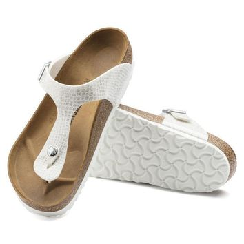 Sale Birkenstock Gizeh Birko Flor Magic Snake White 1009115 Sandals