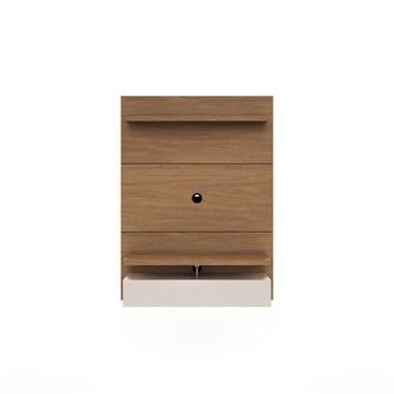 City 1.2 Floating Wall Theater Entertainment Center in Maple Cream and Off White